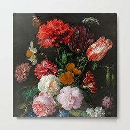 "Jan Davidsz. de Heem ""Still Life with Flowers in a Glass Vase"" Metal Print"