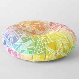 Bright Gradient (Hot Pink Orange Green Yellow Blue) Geometric Pattern Print Floor Pillow