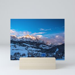 Winter sunset in the italian alps Mini Art Print