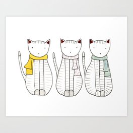 3 Cats in Scarves Art Print