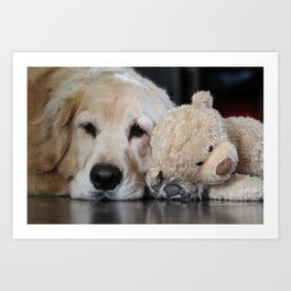 Golden Retriever with Best Friend Art Print