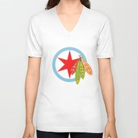 blackhawks V-neck T-shirts featuring City of the Four Feathers by fohkat