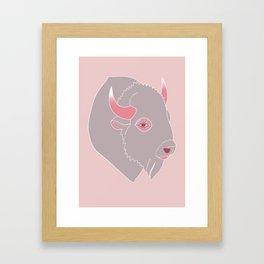 Bison - Pink Framed Art Print
