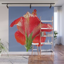 Side View of Scarlet Red Hibiscus In Bright Light Wall Mural