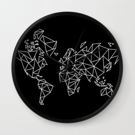 White on Black Geometric Low Poly Map of The World / Polygon geometry Wall Clock