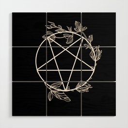 Pentagram with Plant Adornments - on black Wood Wall Art