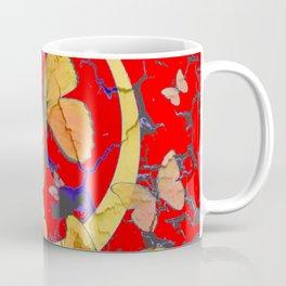 SHABBY CHIC GOLDEN BUTTERFLIES & RED ABSTRACT ART Coffee Mug