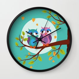 Sleepy owls in love Wall Clock