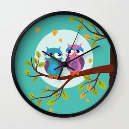Sleepy owls in love Wall Clock