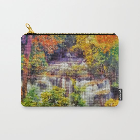 Autumn landscape with waterfall Carry-All Pouch