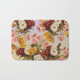 Chrysanthemum Floral Pattern on Lavender Purple Bath Mat