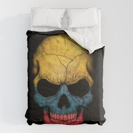 Dark Skull with Flag of Colombia Comforters