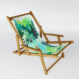 Twice Last Wednesday: Abstract Jungle Botanical Painting Sling Chair