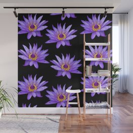 Lotus On Black Wall Mural