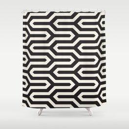 Black & White Geometric Pattern 70s Funky Style Glamorous Art Deco Pattern Shower Curtain