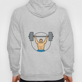 Weightlifter Lifting Barbell Mono Line Art Hoody