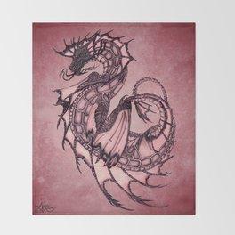 """Tsunami"" by Amber Marine ~ Sea Dragon (Ruby Version) ~ Graphite Illustration, (Copyright 2005) Throw Blanket"