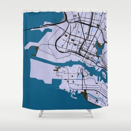 Okland Street Map // Blue Theme Shower Curtain