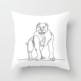 American Bully Continuous Line Throw Pillow