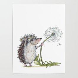 Hedgehog & Dandelion Poster