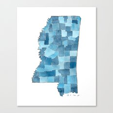 Mississippi Counties Blueprint watercolor map Canvas Print