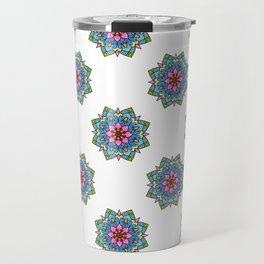 Colourful Botanical Mandala Travel Mug