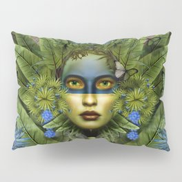 """Tropical green and indigo jungle Woman"" Pillow Sham"