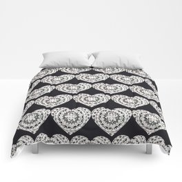 Black and Silver Mandala Hearts Textile Comforters