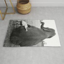 Odd Best Friends, Sweet Little Girl hugging elephant black and white photograph Rug