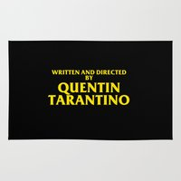 tarantino Area & Throw Rugs featuring Written And Directed By Quentin Tarantino by FunnyFaceArt