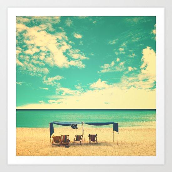 Paradise Beach and Retro Blue Sky  Art Print