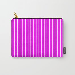 Vertical Lines (White/Fuchsia) Carry-All Pouch