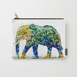Mosaic Elephant Carry-All Pouch