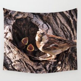 House Sparrow Keeping House Wall Tapestry