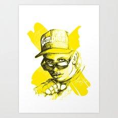 Digital Drawing #34 - Easy E in Yellow Art Print