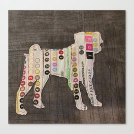 Pug Applique Canvas Print