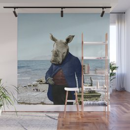 Mr. Rhino's Day at the Beach Wall Mural