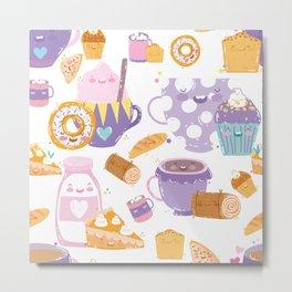 Cute Cup Cake / Sweets Pattern Metal Print