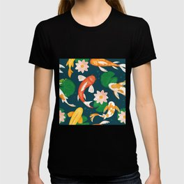 Koi carp fishes swim in blue water with pink lotus lily flowers  T-shirt