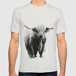 Newspaper Print Style Highland Cow. Scotland, Bull, Horns. T-shirt