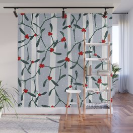 Elegant Mistletoe Holiday Pattern Wall Mural