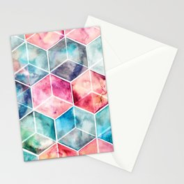 Translucent Watercolor Hexagon Cubes Stationery Cards
