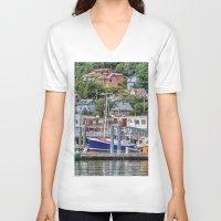 alaska V-neck T-shirts featuring Alaska by Christine Workman