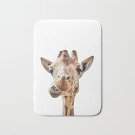 Funny Giraffe Portrait Art Print, Cute Animals, Safari Animal Nursery, Kids Room Poster Bath Mat