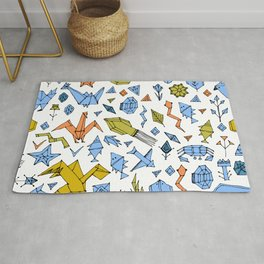 Marine animals and plants, Stylized origami Rug