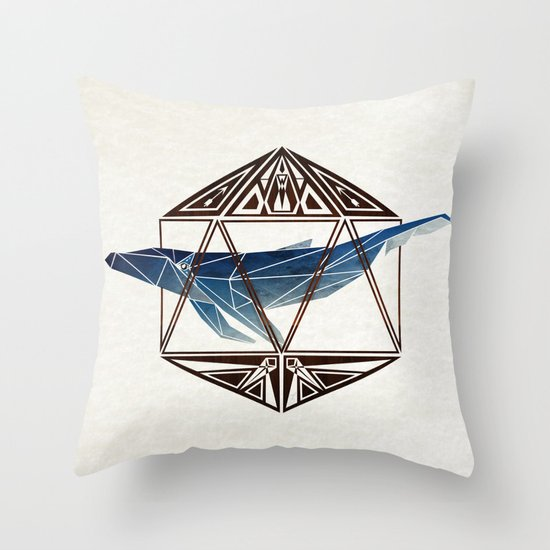 whale in the icosahedron Throw Pillow