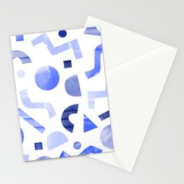 Memphis watercolor blue abstract pattern Stationery Cards