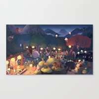 moomin Canvas Prints featuring Yokai Party by Chuck Groenink