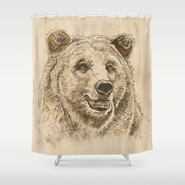 Grizzly Bear Greeting Shower Curtain