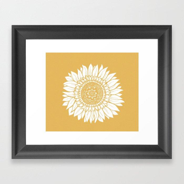 Yellow Sunflower Drawing Gerahmter Kunstdruck